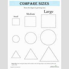 Compare Sizes Shapes  Worksheet Educationcom