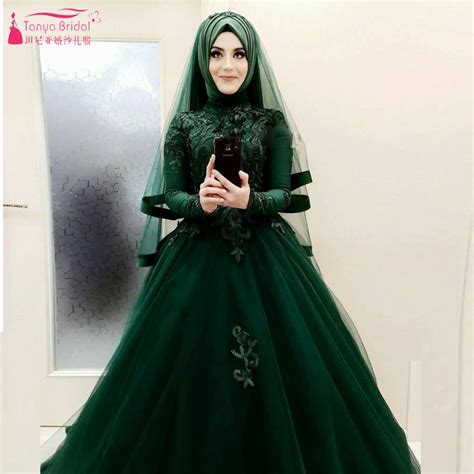 Dark Green Wedding Ball Gowns Muslim Hijab Elegant African Fashion Bridal Dresses Long Sleeve ...