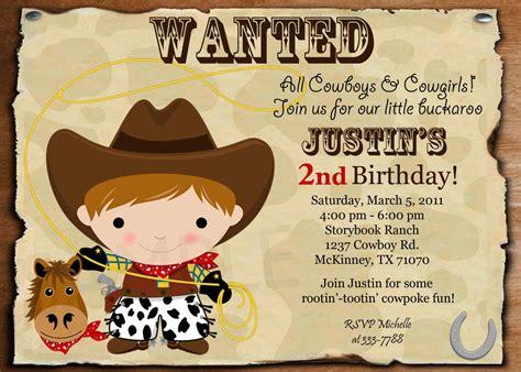wanted cowboy birthday invitation  printable