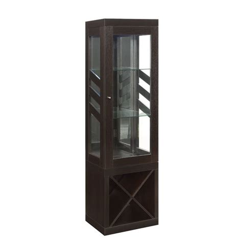Coaster Glass Curio Cabinet In Cappuccino by Coaster Modern Curio Cabinet With Wine Rack In Cappuccino