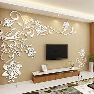 acrylic wall stickers wonderful tv background decoration With decoration stickers muraux adhesif