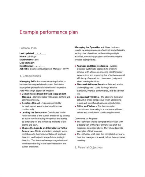 performance plan templates  word format