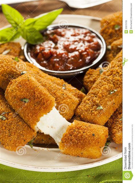 homemade fried mozzarella sticks royalty  stock photo
