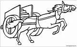Horse Pulling Chariot Pages Coloring sketch template