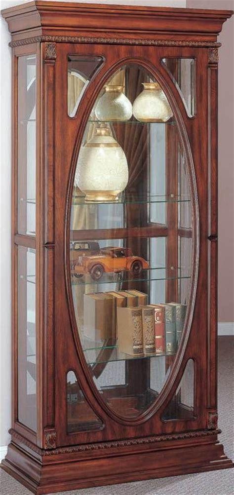 becka cherry wood glass curio cabinet w light acme