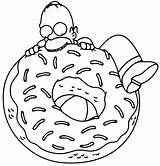 Donut Coloring Pages Simpsons Homer sketch template