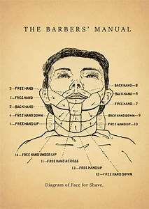 Straight Razor Face Shave Diagram From 1866 The Barbers
