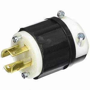 Leviton 30 Amp 120  208-volt 3-phase Locking Grounding Plug  Black  White-3431-c