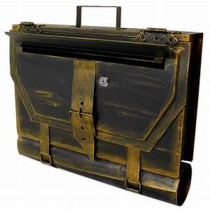 Briefkasten Holz Antik : briefkasten versandshop briefkasten alte aktentasche im antik look in schwarz gold ~ Sanjose-hotels-ca.com Haus und Dekorationen