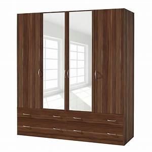 Armoire 4 Portes : armoire 4 portes battantes 4 tiroirs noyer kadra 4 ~ Teatrodelosmanantiales.com Idées de Décoration