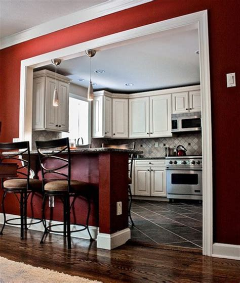 red kitchen walls with white cabinets how to get a café like kitchen