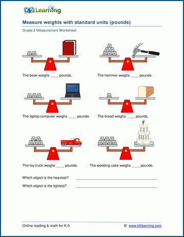 grade 2 weight worksheets measuring weights in pounds