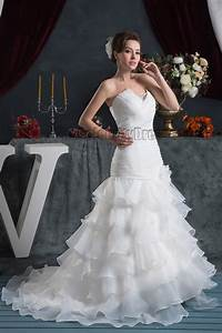 Trumpet Mermaid Strapless Ruffles Lace Up Wedding Dresses