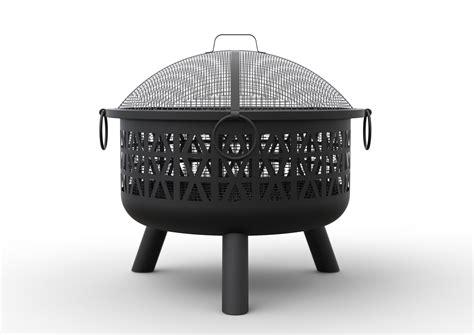 vonhaus geo pit decorative black steel with spark