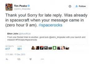 Tim Peake thanks Elton John for his good luck message on ...