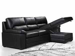 Canapé D Angle Cuir Convertible : photos canap d 39 angle cuir noir convertible ~ Teatrodelosmanantiales.com Idées de Décoration