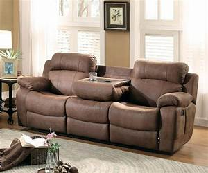 marille brown fabric reclining sofa w drop cup