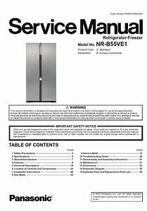 Panasonic Nr B55ve1 Refrigerator Service Manual And Repair