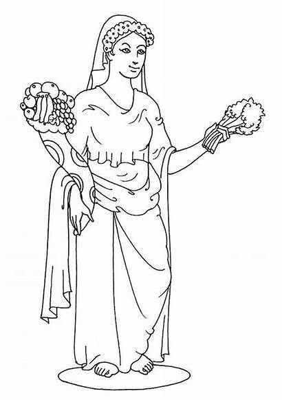 Greek Demeter Goddess Coloring Gods Aphrodite Goddesses