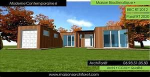 plan et photo maison plain pied en l ou plein pied en rez With lovely maison bois toit plat 12 maison contemporaine avec patio