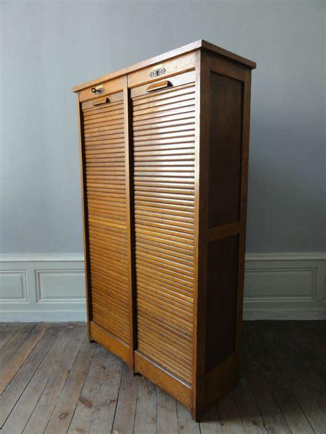 classeur rangement bureau meuble a trier annees 50 en chêne vintage émoi