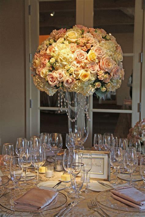 blush ivory gold tall wedding reception centerpiece