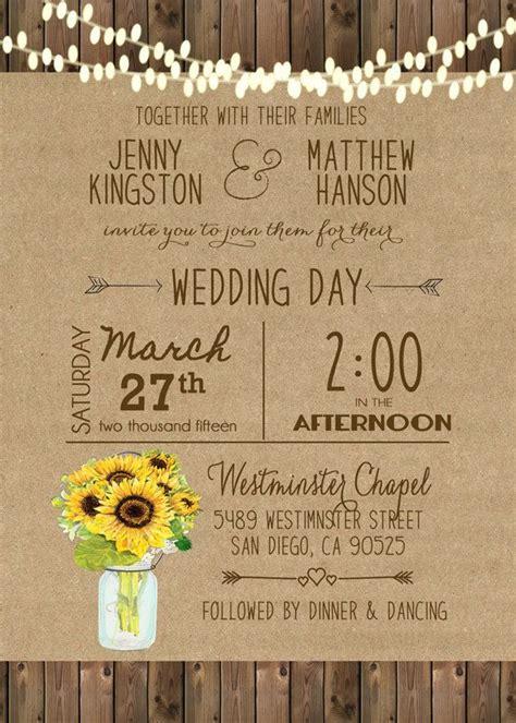 sunflower wedding invitation mason jar rustic sunflower
