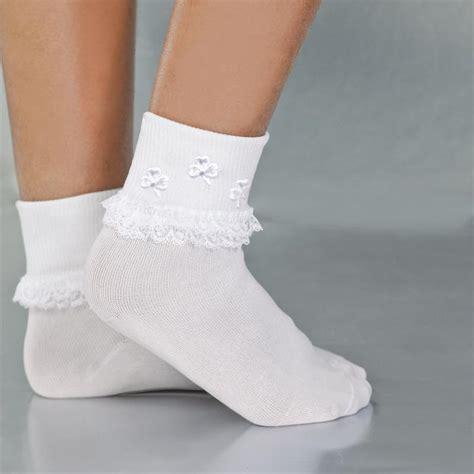 communion anklet socks  shamrocks