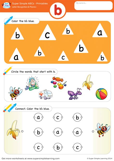 letter recognition phonics worksheet b lowercase super simple