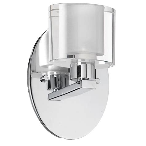 dainolite 809 1w pc 1 light chrome wall sconce frosted