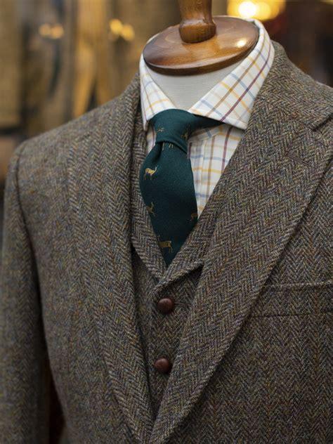 bladen harris tweed olive hb  piece suit tweed