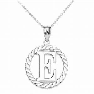 rope circle letter e pendant necklace in 9ct white gold With circle letter pendant