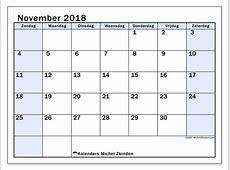 Kalenders november 2018 ZZ