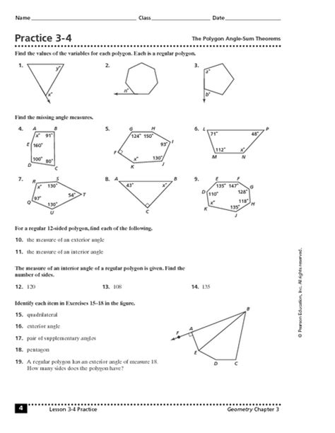 Interior And Exterior Angles Of Polygons Worksheet With