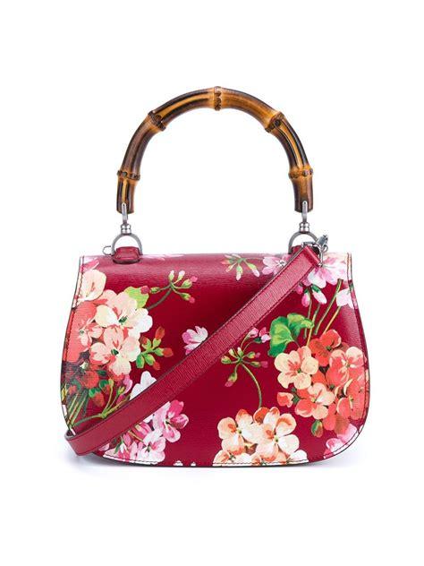 lyst gucci floral print shoulder bag  red