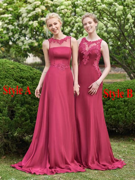 Two Styles Burgundy Bridesmaid Dress 2016 Sheer Neck