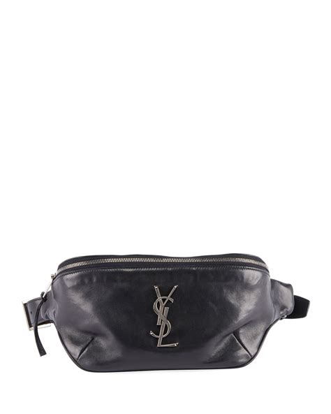 saint laurent ysl monogram curved zip top belt bag