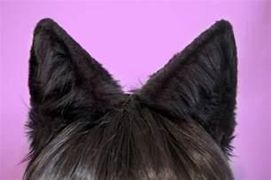 black cat ears black faux fur wolf or large cat ears by wingsofazurashop