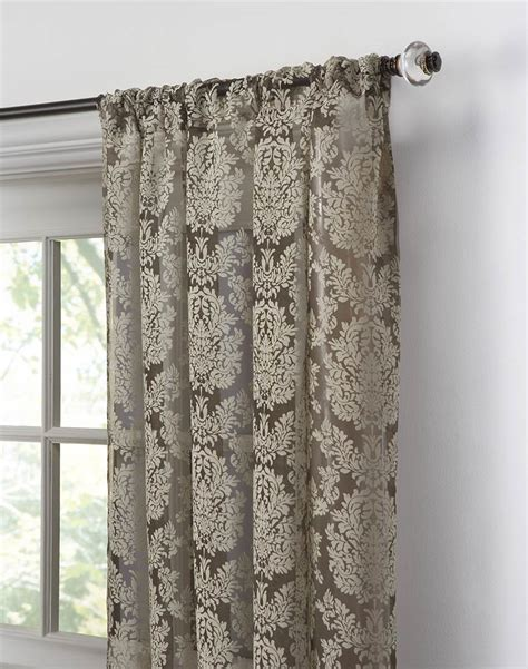 traditional damask lace pole top panel chocolate