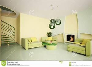 Interiore Moderno Con La Scala Ed Il Camino 3d