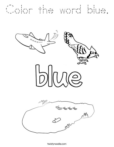 color  word blue coloring page tracing twisty noodle