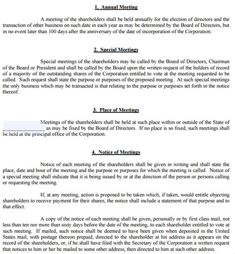 S Corp Bylaws Template by 7 Bylaws Templates Sle Templates