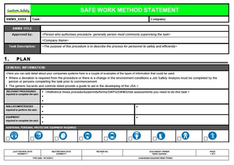 Safe Work Method Statement Template Workcover - Costumepartyrun