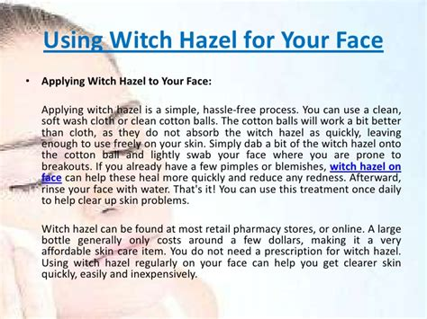 Using Witch hazel on face
