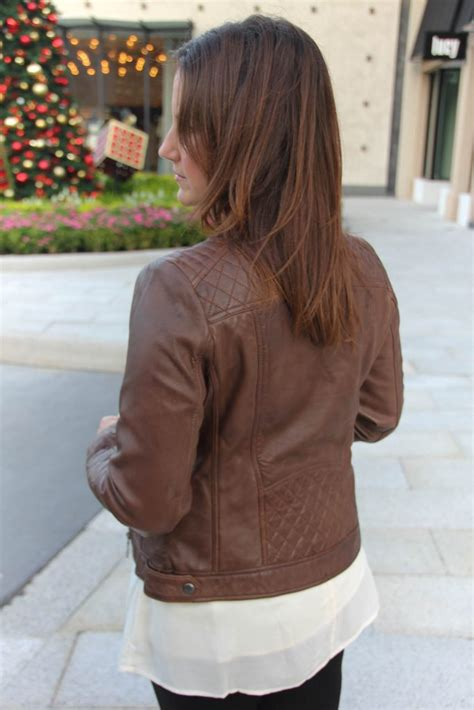 perfect brown leather jacket lady  violetlady