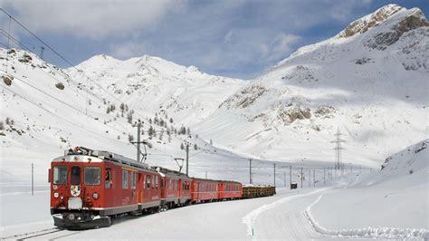Nature Landscape Train Railway Mountain Snow Trees