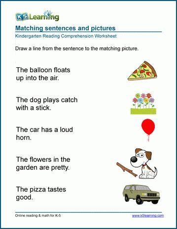 matching sentences worksheets  learning
