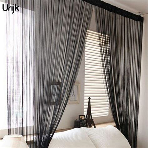 String Curtains by 2019 Urijk Silver Black String Curtains Door Window Panel