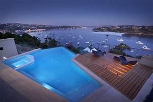 piscine bord de mer eclairee terrasse bois With bord de piscine en bois