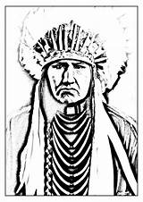 Coloring Indian Chief Pages Printable Native American Getcolorings Adult sketch template